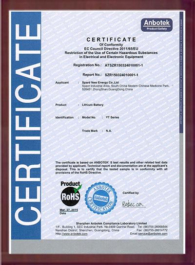 ROHS环保证书